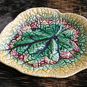 Antique Majolica Begonia Leaf Dish
