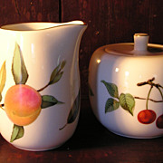 "Royal Worcester ""Evesham"" Sugar Bowl and Creamer"