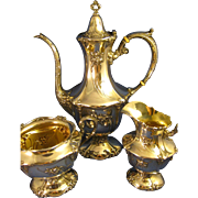 Sterling Wallace Silver  ~ TEAPOT, CREAM & SUGAR ~  Art Nouveau 3 Piece Set
