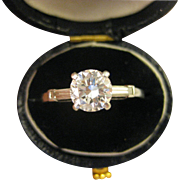 1.1 CT TW ~ PLATINUM DIAMOND ENGAGEMENT RING ~ Vintage Size 7 Appraisal $8,530