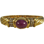 18K Gold ~ RUBY & DIAMOND BANGLE BRACELET ~ Multi Twist Band with Appraisal $8,360