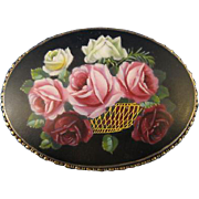 "800 Silver ~ BASKET OF ROSES BROOCH ~ 2-1/2"" Large Hand Painted Enamel Pin"