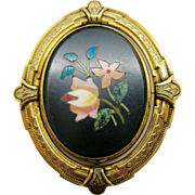 14K Gold   ~ PIETRA DURA SWIVEL BROOCH ~   Victorian Locket Pin