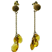 10K Gold  ~ CITRINE BRIOLETTE DANGLE CHAIN EARRINGS ~  Snow Ball Post Pierced
