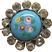Victorian Sterling    ~ HANDPAINTED FLORALS & PASTE PIN ~   Silver Brooch
