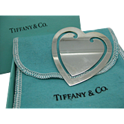 Sterling Tiffany  ~ VINTAGE HEART BOOKMARK ~  Silver with Original Bag and Box