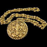 "Peruzzi  ~  FLEUR DE LIS BROOCH / PENDANT NECKLACE ~ 800 Silver Pin & 28"" Chain"