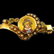 14K Gold ~ VICTORIAN ENAMEL BOY & PEARLS PIN ~  Child Brooch