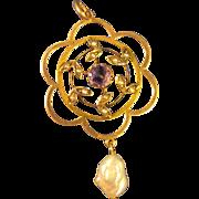14k Gold  ~ AMETHYST & PEARL LAVALIER ~  Pendant