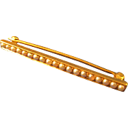 "Art Deco  14k Gold  ~ PEARL BAR PIN ~   1-5/8"" Long"
