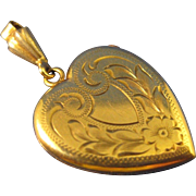 10K Yellow Solid Gold  ~ HEART DOUBLE LOCKET ~  Monogram Ready Pendant
