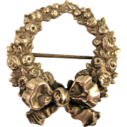 Sterling KERR ~ WREATH & BOW BROOCH ~ Repousse Victorian Silver Pin