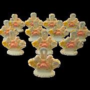 Hubley  ~ 12 FLOWER BASKET PLACE CARD HOLDERS ~  Cast Iron Set