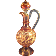 Victorian  ~ ENAMEL CRUET ~  Rubina Glass