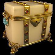 Jeweled  ~ WHITE OPALINE GLASS BOX ~  Casket with Gilt Brass Accent