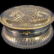 "Antique  Silver Plate Hinge & Rim  ~ CUT CRYSTAL DRESSER BOX ~  6-1/2"" Wide"
