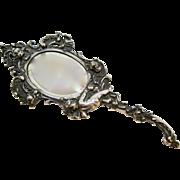 800 Silver Art Nouveau ~ CHERUBS HAND MIRROR ~ by Kaser & Walter of Pforzheim, Germany