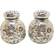 "Sterling SHIEBLER ~ REPOUSSE SALT AND PEPPER SHAKERS ~ Victorian Silver ""1182"""