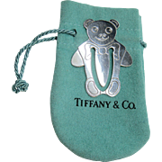 Sterling Tiffany ~ TEDDY BEAR BOOKMARK ~ Silver with Original Bag