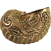 Antique Dutch Silver   ~ CONCH SEASHELL  SNUFF BOX ~   Repousse Sterling