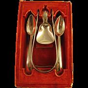 Antique Dutch Silver   ~ 1833 HELWEG 14 PC TEA SET ~  12 Teaspoons, Sugar Tongs & Tea Caddy Sp