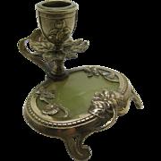 Art Nouveau  ~ GILT BRONZE & ONYX CANDLE STICK ~  Floral Holder