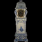 "Porceleyne Fles  ~ 1893 ANTIQUE DUTCH MINIATURE GRANDFATHER CLOCK ~  14"" Delft Porcelain"