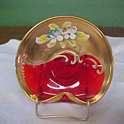 SOLD Beautiful Ruby, Gilded, and Enameled Pin Dish