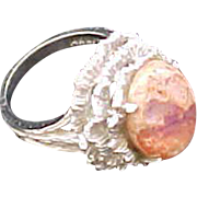 SALE Vintage 14K White Gold Mexican Opal Ring
