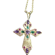 14k Gold Cross Necklace with Gemstones