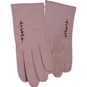 SOLD Darling Little Girl's 1950s Embroidered White Kid Gloves