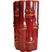 1950s Red Wing Vase Planter Bamboo Pattern Cranberry Color
