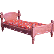 Charming Little Dollhouse Rope Bed with Tufted Mattress