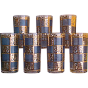 SOLD 1950s Culver Tumblers in Blue Prado Pattern 22K Gold