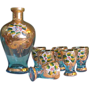 SALE Beautiful Italian Hand painted Cordial Set with 22k Gold Trim
