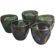 Mid-Century Russel Wright Forest Green Pinch Tumblers Glasses by Imperial