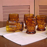 SOLD Vintage Set of 5 Anchor Hocking Georgian Tumblers