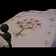 SALE Wonderful Linen Crewel Bed Coverlet