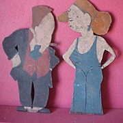 REDUCED Charming Wooden Comic Strip Characters Maggie & Jiggs