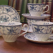 Vintage Johnson Brothers Blue Indies Cups and Saucers