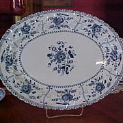 REDUCED Vintage Johnson Brothers Blue Indies Large Oval Serving Platter