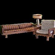 Rare Mattel Wooden Danish Modern Doll Living Room Furniture