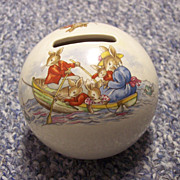 Bunnykins Royal Doulton Money Ball Bank Fishing