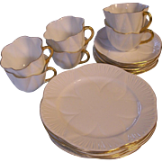 SALE Shelley Regency Dainty 6 Trio Sets White with Gold Trim-Cups Saucers Plates