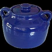 Bauer Cobalt Blue Pottery Bean Pot Cookie Jar