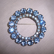 "Large & Beautiful 2 1/8"" Blue Rhinestone Circle Brooch Pin"