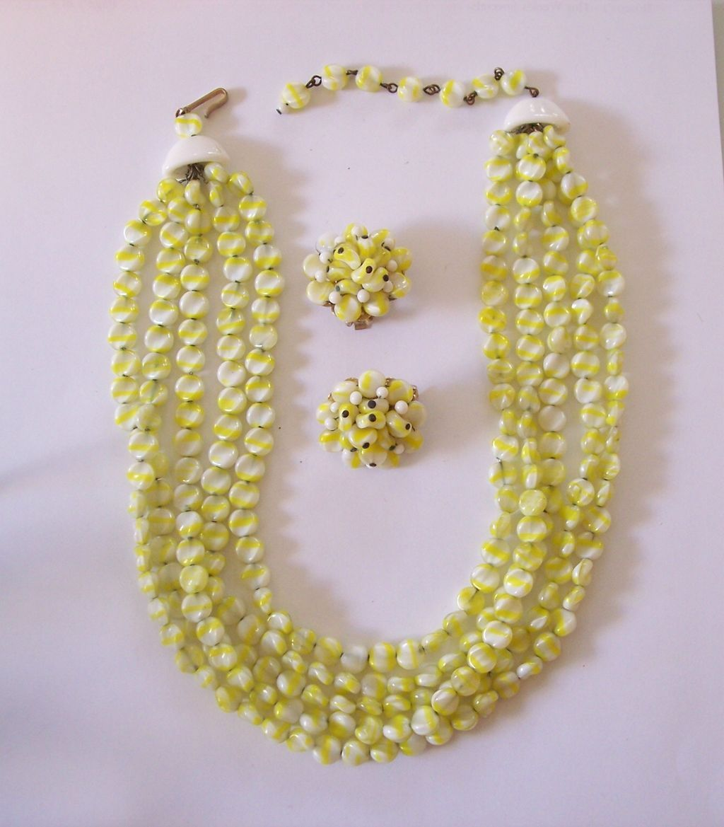 Gorgeous Hobe 5 Strand Necklace and Earrings Set  Yellow & White Glass Beads