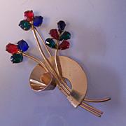 SALE Coro Sterling Retro Vermeil Swirl Flower Pin