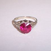 SALE 10K White Gold Filigree Ring Deco Edwardian Synthetic Ruby