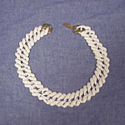 Napier White Enamel Link Necklace